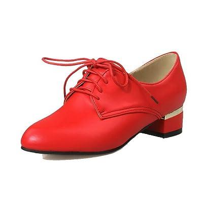 AgooLar Femme à Talon Bas Métal Lacet Chaussures Légeres