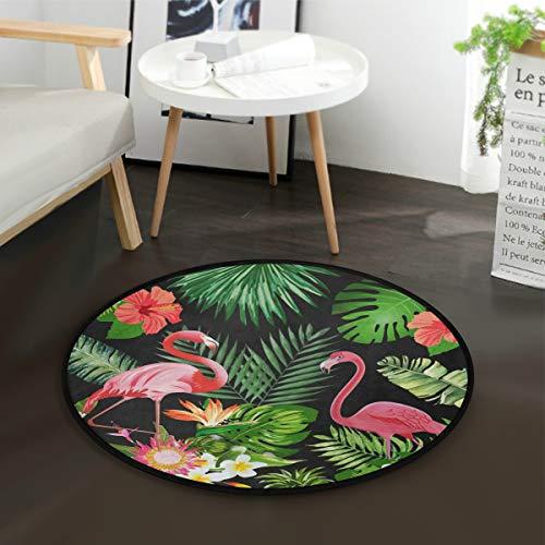 ALAZA Flamingo Bird Palm Tree Leaves Summer Tropical Round Area Rug for Living Room Bedroom 3' Diameter(92 cm)