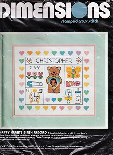 Dimensions 1986 Stamped Cross Stitch - Happy Hearts Birth Record 14x12