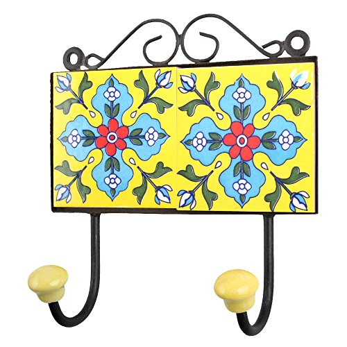 IndianShelf Handmade 3 Piece Ceramic Yellow Turquoise Floral Tiles Antique Look Wall Hanging Key Hooks/Cloth Coats Hangers/Key Holders by Indian Shelf