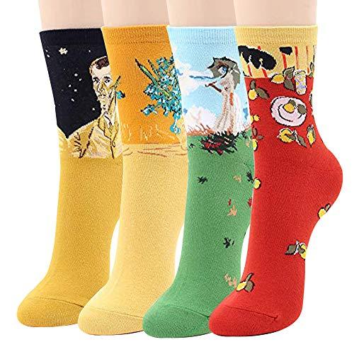 Women Socks Gift Set - Animal Cat Dog Art Cartoon Character Funny | Gift Socks | Christmas Gifts for Ladies, Girlfriend, Mom (Art - Art 4)]()