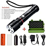Tactical Flashlight Kit, MOLAER 1000-Lumen Bright LED Flashlight with Zoomable Adjustable Focus and 5 Light Modes, Portable Water Resistant Torch with Rechargeable 26650 Lithiumion Battery and Charger