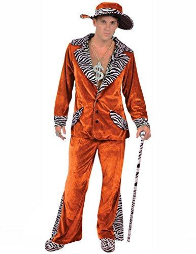 Orion Costumes Mens Retro 70s Orange Pimp Gangster Daddy Suit Medium
