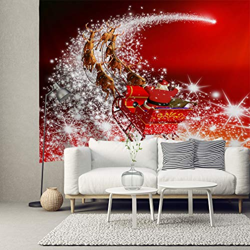 HIYOO Home Christmas Santa Theme Wall Hanging Fabric Art Tapestry, Xmas New Year Indoors Decorations, Decor for Dorm Room Bedroom Living Room Party 80