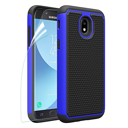 Samsung Galaxy J3 2018/J3 Achieve/J3V J3 V 3rd Gen/J3 Star/Amp Prime 3/Express Prime 3/Sol 3 Phone Case with HD Screen Protector, OEAGO [Shockproof] Hybrid Dual Layer Case Cover (Blue)
