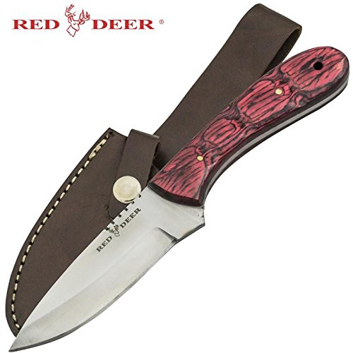 Red Deer Full Tang Game Hunting Knife with Leather Sheath ()