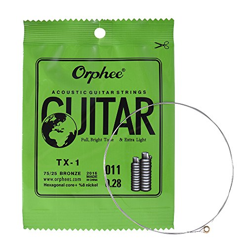 ammoon Orphee TX-1 Single String Replacement for Acoustic Folk Guitar 1st E-String (.011) 10-Pack High-carbon Steel Core 75/25 Phosphor Bronze Extra Light Tension