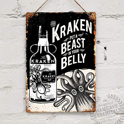 (Kraken Rum Replica Vintage Tattoo Drink Tin Sign Metal Sign TIN Sign 7.8X11.8 INCH)