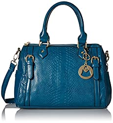 MG Collection Talia Snake Bowling Top Handle Bag, Blue, One Size