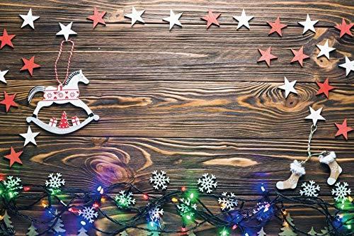 Baocicco 10x6.5ft Vinyl Merry Christmas Wood Texture Plank Background Handmade White Red Stars Rocking Horse Socks Flakes Colorful Bulbs Photo Shooting Backdrop