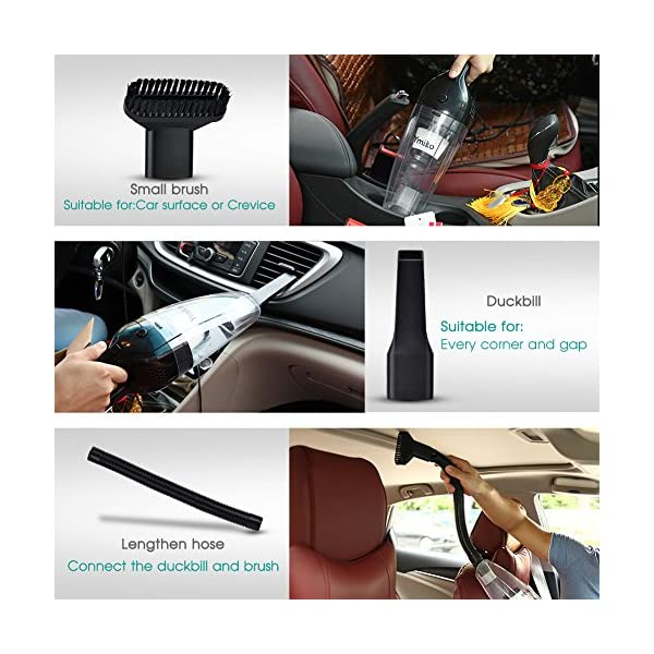 Car Vacuum Cleaner Ymiko New Version DC 12V 120W 4kPA High Power Portable WetDry Auto Car Vacuum Cleaner With 164FT Power Cord One Carry BagBlack