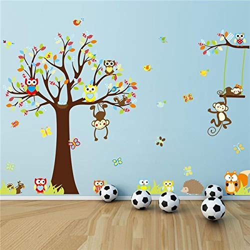 Inveroo Colorful Squirrel Forest Animal Monkey Owls Tree Wall Sticker Wall Sticker Mural Decal Kids Home Decor (Colorful The Squirrel Owl Monkeys)
