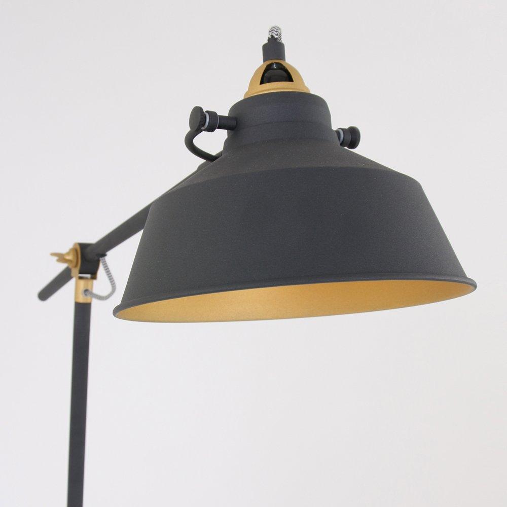Lámpara de pie negro mate oro E27 Vintage La Industria ...
