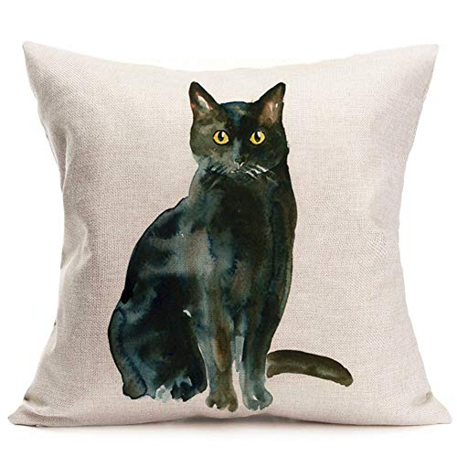 smilyard Black Cat Pillow Covers Animal Adorable Cat Decorative Pillow Covers Cotton Linen Oil Painting Pillowcase Square 18X18 Inch Cushion Covers (Black Cat 03)