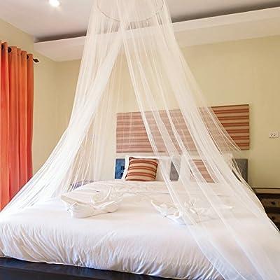 Blusea Mosquitero para Camas, Universal White Dome Malla de mosquitera Red Instalación fácil Cama Colgante Canopy Netting para Camas Individuales a ...