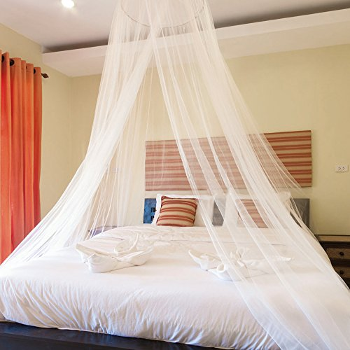AILELAN Mosquito Net, Bed Canopy Hanging Circular Curtain Netting for Single to King Size, Quick Easy Installation, Use to Cover The Baby Crib, Kid Bed, Girls Bed Or Full Size Bed