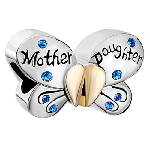 Mother Daughter Separable Butterfly 925 Sterling Silver Crystal Heart Mom Bead Fit European Charms (Sapphire September ()