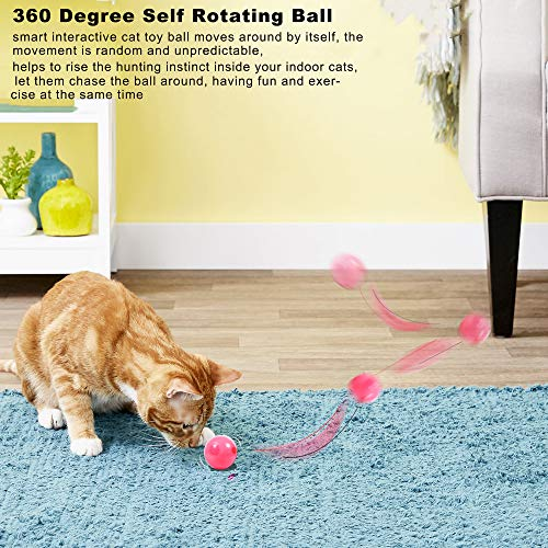 MHMYDIS Smart Interactive Cat Toy - USB Rechargeable 360 Degree Self Rotating Ball Build-in Spinning Led Light, Automatic Rolling Pet Toy Stimulate Hunting Instinct for Your Kitty and Dogs 4