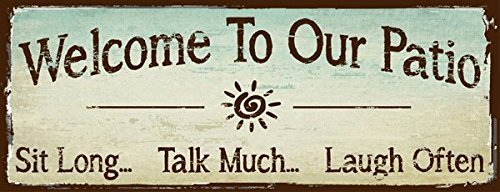 Cheap  Welcome to Our Patio Metal Sign, Outdoor Living, Rustic Decor
