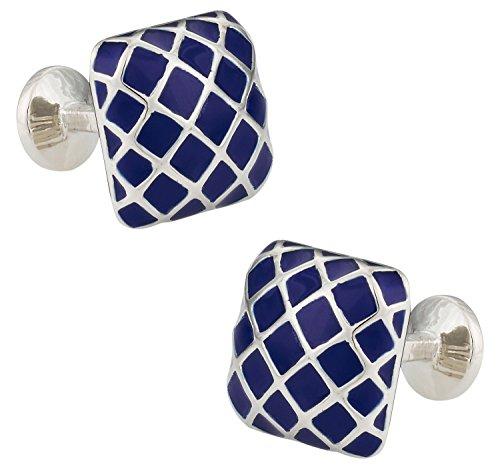 Cuff-Daddy Blue Patterned Domed Enamel Silver Cufflinks with Presentation Box