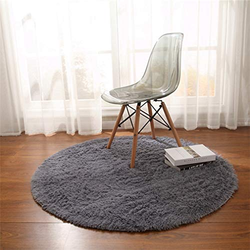 GIY Shag Solid Round Area Rugs Soft Plush Living Room Carpet Children Bedroom Rug Bathroom Mats Home Decorate Non-Slip Modern Circular Runners Sky Blue 2.5' X 2.5'