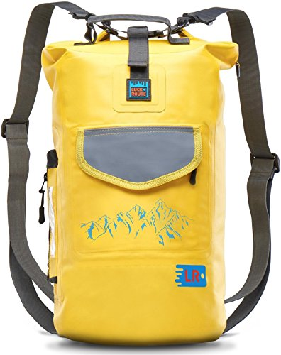 Luck route Waterproof Dry Backpack with Straps and Pockets - Floating Dry Bag for Beach - Sack for Kayaking and Boating or Fishing (Yellow, 20L)