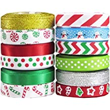 """Hipgirl 60 Yard 3/8"""" Grosgrain Satin Fabric Ribbon Set For Christmas, Holiday, Winter Package Gift Wrapping, Hair Bow Clips & Accessories Making, Craft, Sewing, Wedding, Boy Girl Baby Shower. 12x5 yds"""