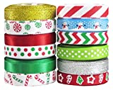 "Christmas Ribbon for Crafs - Hipgirl 60 Yard 3/8"" Grosgrain Satin Fabric Ribbon Set For Holiday, Winter Package Gift Wrapping, Hair Bow Clips & Accessories, Sewing, Boy Girl Baby Shower. 12x5 yds"