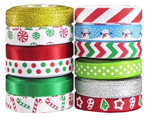Christmas Ribbon for Crafs - Hipgirl 60 Yard 3/8