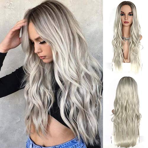IVY HAIR New Trendy Glueless Long Wave Synthetic Hair Wig Platinum Blonde Curly Wig With Dark Roots Heat Resistant Fiber for Women African American