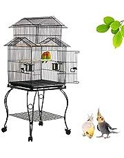Yaheetech Gabbia Voliera per Uccelli Pappagalli in Metallo e Legno con Piedistallo Carrello Nera 59 x 59 x 139,5 cm