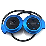 TopePop Universal Sports Stereo Wireless Bluetooth Headset Earpiece Earphones Music Earbuds Built-in Microphone Mp3 Fm Player for Android Ios Cellphone Smartphone (Blue)