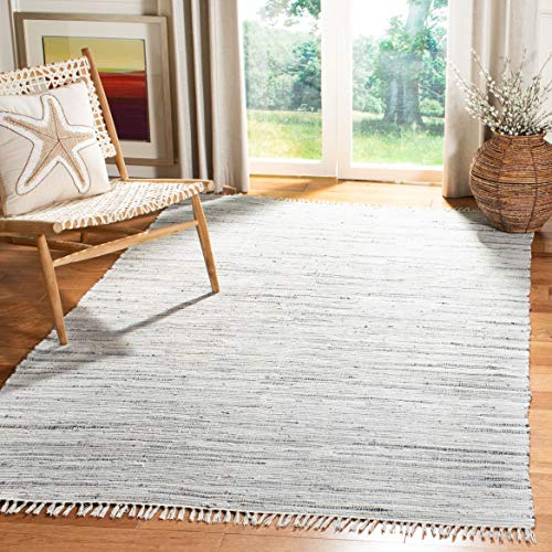 Safavieh Rag Rug Collection RAR121A Hand Woven Grey Cotton Square Area Rug (4' Square) (Rug Kitchen Square)