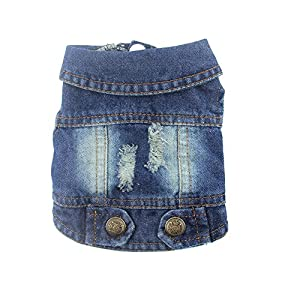 DOGGYZSTYLE Pet Vests Dog Denim Jacket Hoodies Puppy Jacket for Small Medium Dogs (S, Blue)