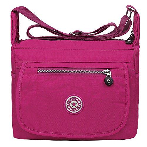 Shoulder Cross Body Handbag Nylon Rosy Resistant 6 EGOGO Water Casual E303 Bag Bag Messenger 4wBXS8qnS