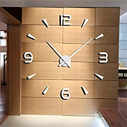 FASHION in THE CITY 3D DIY Wall Clock Creative Design Mirror Surface Wall Decorative Sticker Watches (White)