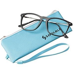 SOOLALA Designer Large Horn Rimmed Clear Lens Eyeglass Frame Reading Glasses, 2.5, Black