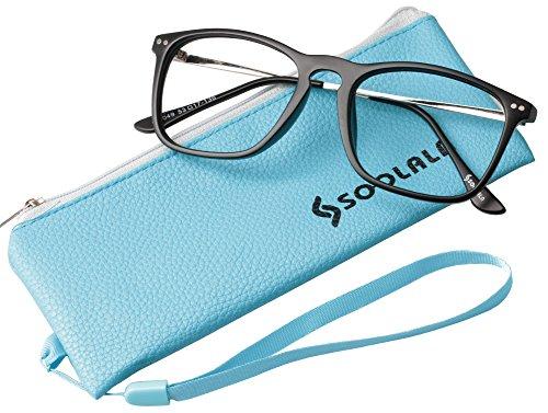 SOOLALA Designer Large Horn Rimmed Clear Lens Eyeglass Frame Reading Glasses, Black, 2.75