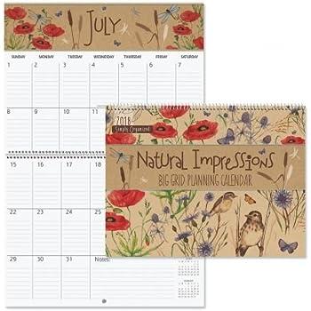2018 natual impressions big grid calendar 12 x 9 bookstore quality