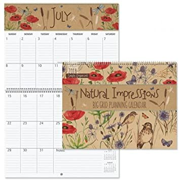 amazon com 2018 natual impressions big grid calendar 12 x 9