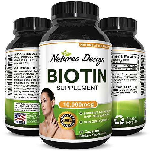 Natural Biotin Supplement for Healthy Hair Growth - B Vitamin Strengthens Hair and Nails - Helps Fight Hair Loss - Aids Digestion - Stop Thinning Hair - For Women and Men - By Natures Design
