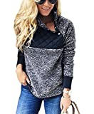 PRETTYGARDEN Women's Warm Long Sleeves Oblique Button Neck Splice Geometric Pattern Fleece Pullover Coat Sweatshirts Outwear (Blue, X-Large)