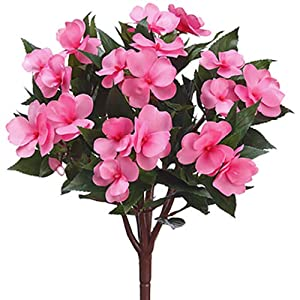 "13.5"" Silk New Guinea Impatiens Flower Bush -Coral (Pack of 6) 70"