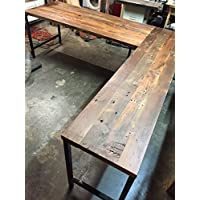 L Shaped Desk Reclaimed Wood with Metal Base