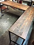 L Shaped Desk Reclaimed Wood with Metal Base Review
