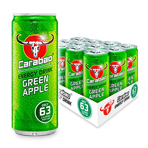Carabao Energy Drink Green Apple, 12 x 330ml Case Cans, Low Calories and less Sugar, Tasty Fizzy Flavour, Vegan, Vitamin…