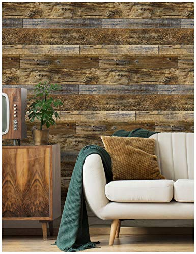 "HaokHome 92048-2 Peel and Stick Wood Plank Wallpaper Shiplap 17.7""x 9.8ft Brown Vinyl Self Adhesive Contact Paper Decorative"