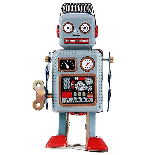 Retro Metal Wind Up Robot Mechanical Clockwork Vintage Walking Tin Robot Toy Gift ()