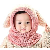 Baby Girls Boys Winter Hat Scarf Earflap Hood Scarves Skull Caps Pink One