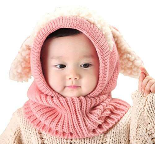 Baby Girls Boys Winter Hat Scarf Earflap Hood Scarves Skull Caps Pink One (Cool Easter Gifts)